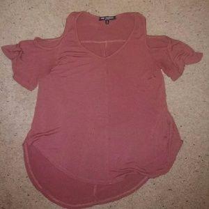 Red off the shoulder shirt